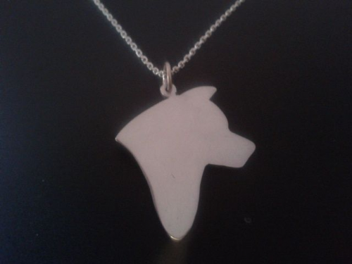 Akita head profile dog pendant sterling silver handmade by saw piercing